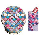 Mermaid Scale Pink Ergonomic Design Tappetino per il mouse Girly Cute con supporto per il sostegno dei polsi. Rotonda grande area del mouse. Panno per pulizia in microfibra coordinato.