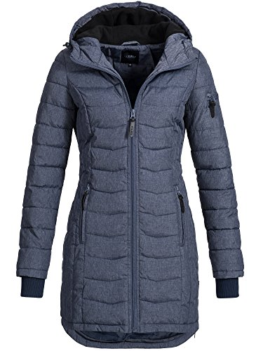 DESIRES Damen Bosse Winter Steppmantel Kapuze Übergangs Parka Wintermantel gefüttert 8991 Insignia Blue Melange L