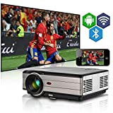 Video Projektor Bluetooth Wifi 4000 Lumen 1280 x 800 LCD Home Cinema-Projektor HDMI 1080P Wireless Beamer für Smartphone Backyard Theater Spiel-System Laptop DVD (UK Plug)