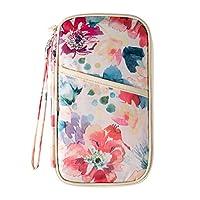 Comfysail Mulit-Purpose Flower Print Travel Wallet Passport Holder Card Cash Organiser With Hand Strap (Pink)