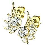 beyoutifulthings Damen 1 Paar ZIRKONIA ENGELS-FLÜGEL Ohringe Ohr-ringe Schmuck Ohr-stecker Chirurgenstahl Gold Clear