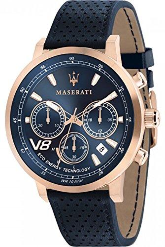 Maserati Gran Turismo Reloj para Hombre Analógico de Cuarzo con Brazalete de Piel de Vaca R8871134003