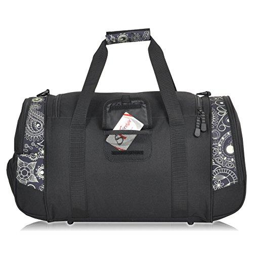Sporttasche ADVENTURE Fitness Tasche, Sport Gym Tasche Reisetasche, 40 Liter Black Cream Paisley