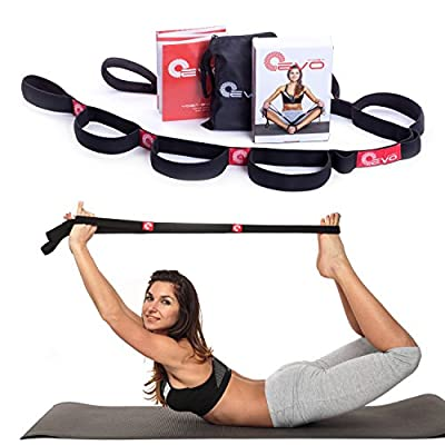 Yoga EVO Elastic Stretching Strap with Loops + eBook & Video Exercises & Carrying Bag by Yoga EVO