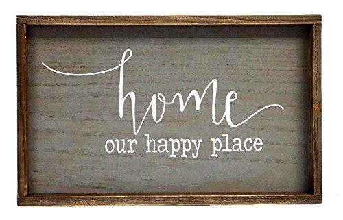 Parisloft Home Unsere Happy Place Holz Wandschild gerahmt Schild Natur Holz Wanddekoration 49,5x 29,2cm -