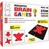 Play Poco Magnetic Brain Games - with 18 Double Sided Magnetic Shapes, Magnetic Board, 112 Puzzle Book, 112 Solution Book