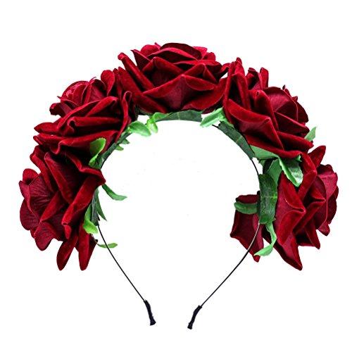 Frcolor Diadema de flores de color rosa corona coronas de pelo tocado para el banquete de boda Festival Photo Props