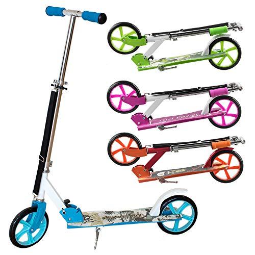 ArtSport Kinder Scooter blau | ab 6 Jahre | 205 mm Räder | klappbar höhenverstellbar | 100 kg belastbar | Cityroller Tretroller Kinderroller