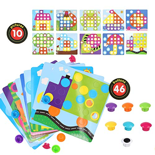 Urio Color Match Button Art Puzzle Set For 2 year Old Creative Toy,10 Pieces Picture And 46 Pcs Mushroom Nails Pegboard Toy,Educational Jigsaw Puzzles