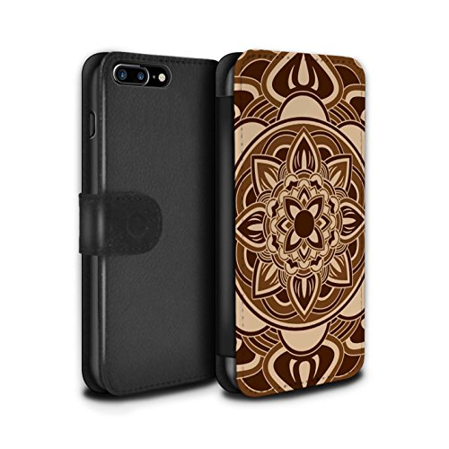 Stuff4 Coque/Etui/Housse Cuir PU Case/Cover pour Apple iPhone 8 Plus / Floral/Sépia Design / Art Mandala Collection Pétale/Sépia