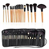 #2: Miss U 24 pcs Professional Makeup Brushes Kit Black Wood Make Up Brushes Sets Wool Brand Toiletry Brush Tools With Leather Storage Pouch