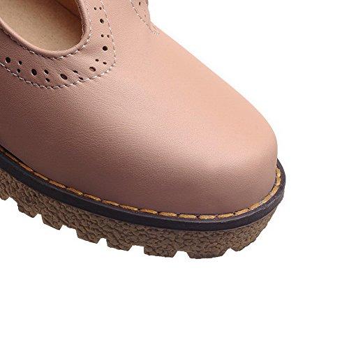 Damen Mittler Pink Pu Absatz Schuhe Leder Rein Schnalle Pumps Rund Zehe AllhqFashion A4qdA