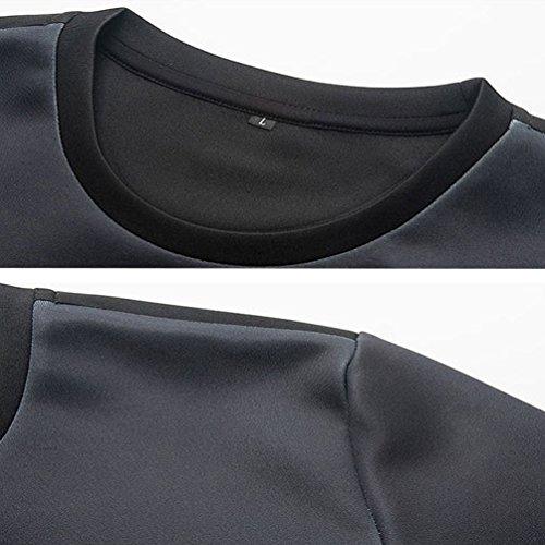 YiJee Herren Langarmshirt Glatt Longsleeve Pullover mit Rundhalsausschnitt Als Bild 2