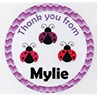 "LOVELY LADYBIRDS Design ""Thank you for coming to my Birthday Party"" Stickers - PERSONALISED A4 Sheet of 15 x 50mm Round Party Bag Stickers"