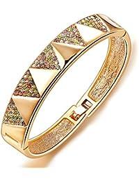 City Ouna® Elementos de Swarovski 18K Real genuinos rosa oro plateados clásicos Vintage colores Crystal Bangle pulsera brazalete austríaco para mujeres hombres