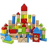 Lewo Blocchi di costruzione in legno 100 pezzi Costruzione di giochi Giocattoli per i più piccoli impilabile Bloccare Impostato Giocattolo Educativo e Creativo per i Bambini di oltre 3 anni