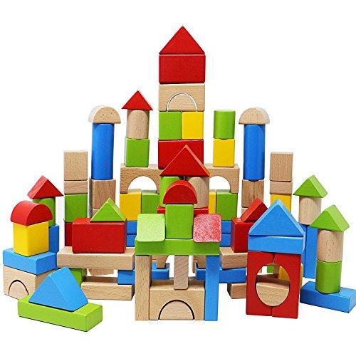 Lewo Juegos de Bloques de Construcción de Madera Juguetes de para Niños Apilado Bloquear Conjunto 100 piezas