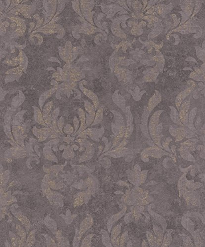 rasch Tapete 467451 aus der Kollektion Vincenza – Vliestapete mit fein skizzierten Ornamenten in Lila im klassischen Stil – 10,05m x 53cm (L x B)