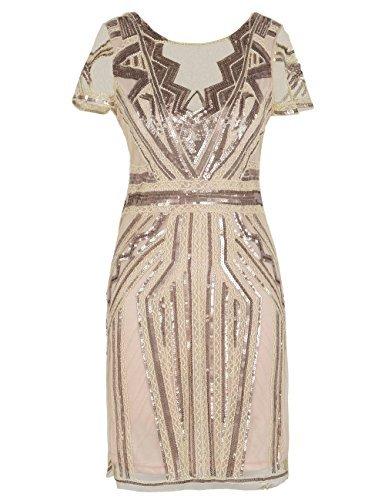 kayamiya 1920er Jahre Kurze Ballkleider V-Ausschnitt inspiriert Pailletten Cocktail Gatsby Kleid mit Ärmel S Champagner