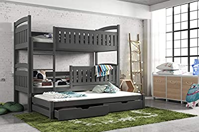 Modern Kids Children Wooden Solid Pine Bunk Trundle Bed BLANKA With Storage Drawers in Graphite sold by Arthauss