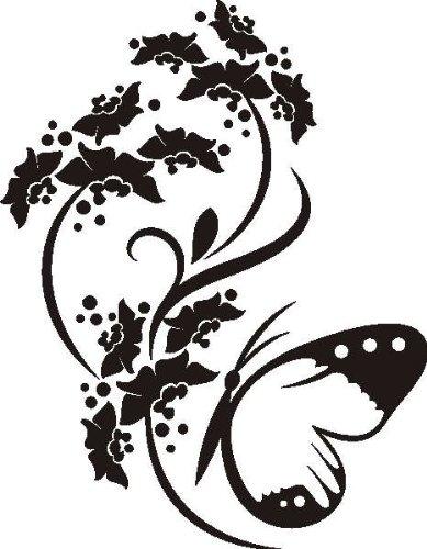 T-Shirt D418 Schmetterlinge saugen Nektar von Blüten Brustaufdruck Größe S