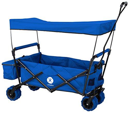 Miweba Faltbarer Bollerwagen MB-10 für Kinder - Bremse - Dach - PU-Breitreifen - Transporttasche - Klappbar - UV-Beständig - Handwagen faltbar (Blau)