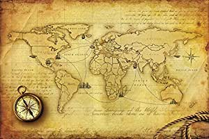 Buy walls and murals world map wall paper 66 x 99 cm online at share facebook twitter pinterest gumiabroncs Choice Image