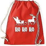 Turnbeutel HO HO HO Weihnachten Nikolaus Rentier Fun Spass Gymnastikbeutel Bag , Farbe:rot;Größe:37 x 46 cm
