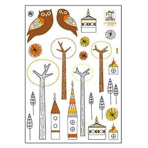 Motif hiboux couleurs-motif: arbre-ude abattant de wC amovible en vinyle art kid room home decor stickers muraux