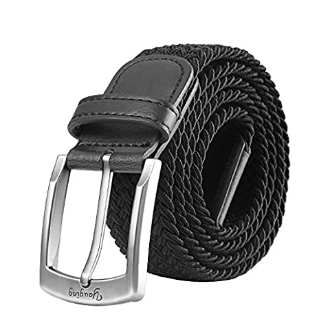 Men Belts, Elastic Braided Stretch Belt with Covered Buckle, for Jeans, Trouser Belts (Medium,