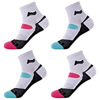 Laulax 4 Pairs Ladies Professional Coolmax Sports Running Socks, Cushioned Sole and Arch Protection, Size UK 3-8 / Europe 36-41, White, Gift set