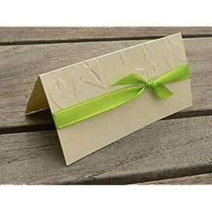 Tischkarte Namenskarte runder Geburtstag 40 50 60 70 75 80 90 100 Blätter Äste geprägt apfelgrün hellgrün