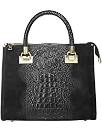 Handtasche ECHT LEDER schwarz Damen Mittel - 017787 Cluty lzBIt
