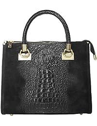 Handtasche ECHT LEDER schwarz Damen Mittel - 017787 Cluty