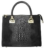 Cluty Handtasche Echt Leder schwarz Damen - 017787