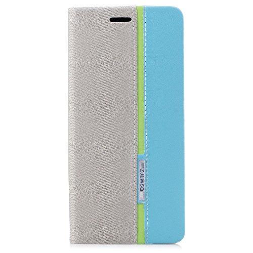 Chrome Großen Hut (Samsung Galaxy Note 8 Hülle, Samsung Galaxy Note 8 Handyhülle, Cozy Hut® Leder Schutzhülle [Grau] [Premium Leder Serie] Handgefertigt Leder Cover Prämie PU Ledertasche Etui Stoßsichere Lederhülle Brieftasche Case mit 3 Kartenfach und Standfunktion mit Magnetverschluss Schlanke Leder Brieftasche für Samsung Galaxy Note 8 6,3 Zoll - Grau / Blau)