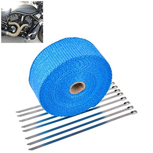 TUINCYN 2 Zoll x 50Ft Auspuff Hitzeschilde Roll Kit Für Motorrad mit 8 stücke 11,8 Zoll Edelstahl Locking Krawatten Blau