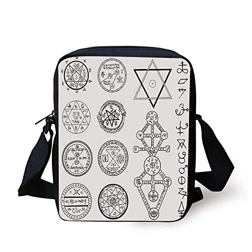 Occult Decor,Spiritual Set with Circular Pentagram Icons Hidden Knowledge of Cosmos Print,White Black Print Kids Crossbody Messenger Bag Purse