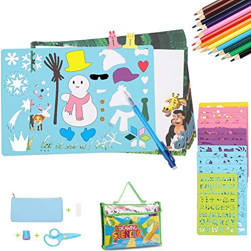 Sunyjoy 54 Pezzi Set di Stencil da Disegno per Bambini, Kit di Stencil da Disegno, Grandi Stencil in Plastica con 12 Grandi Bordi di Stencil e 2 Piccoli Stencil (Oltre 280 Forme)