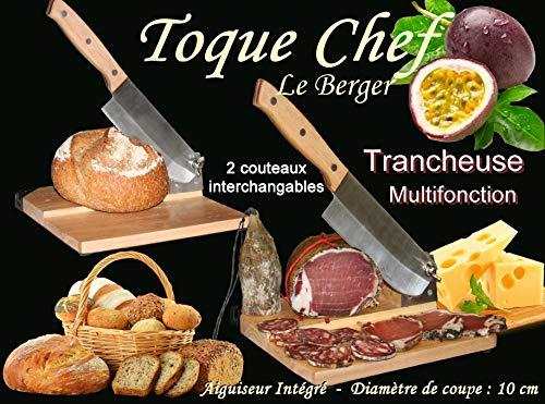 Le Berger - Affettatrice universale 2in 1, con2coltelli a ghigliottina per salame, formaggio, pane Toque Chef, con 2lame intercambiabili