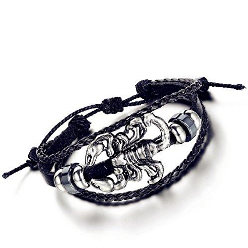 Flongo Alliage Leather Cuir Corde Bracelet Scorpion Charms Tribal Tressé Réglable Bijoux Cadeau Noir Marron pour Femme Homme noir/brun;2pcs