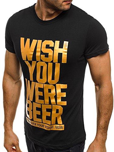 OZONEE Herren T-Shirt mit Motiv Kurzarm Rundhals Figurbetont J.STYLE SS179 Schwarz_J.STYLE-SS148
