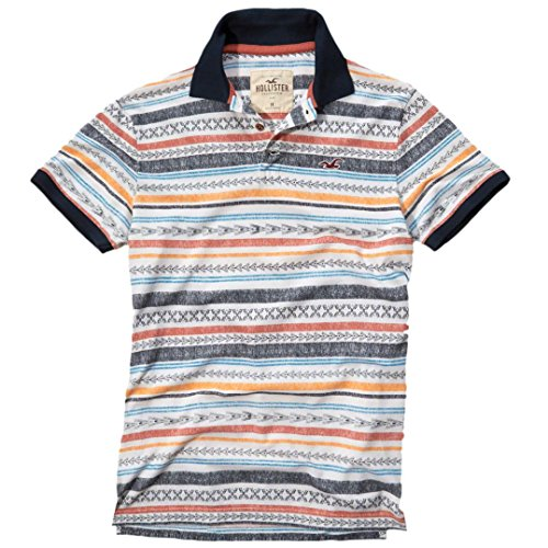 hollister-homme-patterned-tipped-pique-polo-top-shirt-courte-taille-medium-blanc-print-623321388
