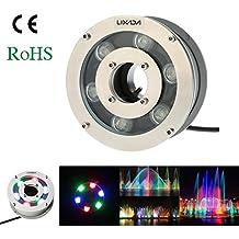 Lixada LED Foco Lámpara de Fuente Impermeable Al aire libre Piscina Submarino Paisaje 12V 5W 600-650LM IP68 RGB