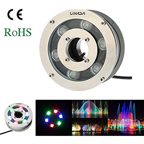 Lixada Foco Lámpara Subacuática Luz de Piscina Paisaje Submarino LED Al Aire Libre IP68 Impermeable RGB 12V 5W