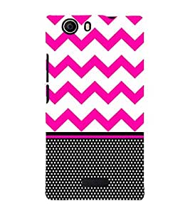 Chevron Pink Black Dots 3D Hard Polycarbonate Designer Back Case Cover for Micromax Canvas Nitro 2 E311 :: Micromax Canvas Nitro 2 (2nd Gen)