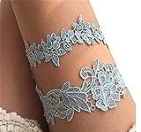 Hippolo Weinlese-Frauen-reizvoller Hochzeits-Partei-Brautabschlußball-Spitze-Blumen-Strumpfband-Bein-Ring-Elastischer Schenkelring Retro (Blau)