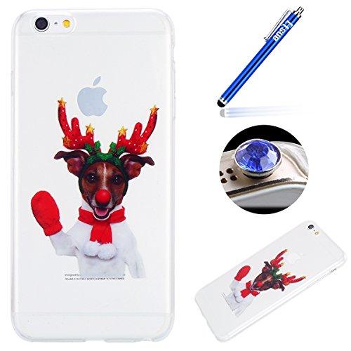 Etsue Custodia iPhone 6 Plus Trasparente,Colorate Dipinto Modello Con Disegni,iPhone 6S Plus Cover in Silicone Tpu Flessible Sottile Antiscivolo e Antigraffio Protettivo Cover Bumper Case Per iPhone 6 Guanti rossi,alce