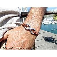 braccialetto infinito, in pelle marrone, cucito