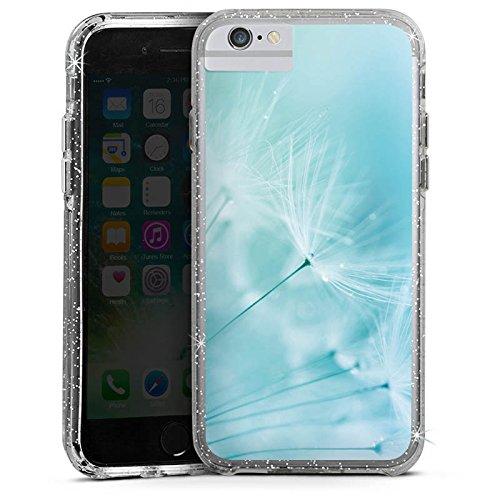 Apple iPhone X Bumper Hülle Bumper Case Glitzer Hülle Pusteblume Blau Blue Bumper Case Glitzer silber